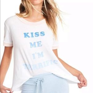 Wildfox Kiss Me Wright Tee Retro Crewneck New